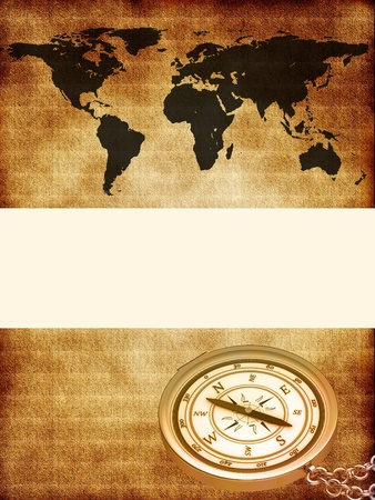lost world: World map with a compass Stock Photo