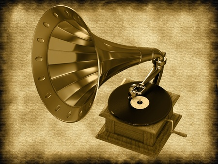 Gramophone on an abstract background photo