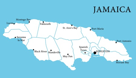 island state: Map of Jamaica with cities