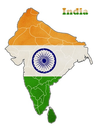 Flag of India map photo
