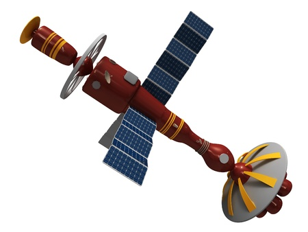 artificial satellite: Model of an artificial satellite Stock Photo