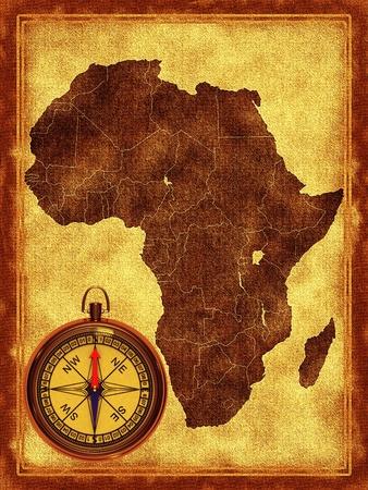 ilustraciones africanas: Mapa de África en el fondo antiguo
