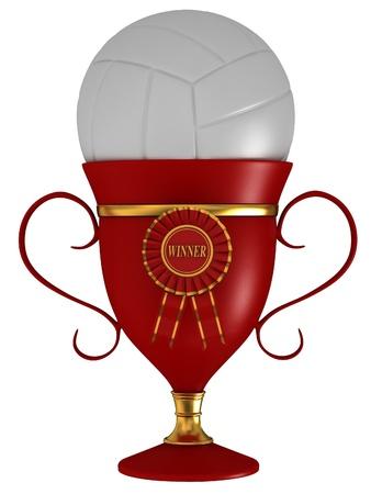 ballon volley: Volley-ball avec la coupe Banque d'images