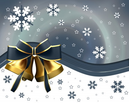 christmas bells: Christmas bells with red bow Stock Photo