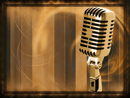 microfono de radio: Micrófono de la vendimia en el fondo
