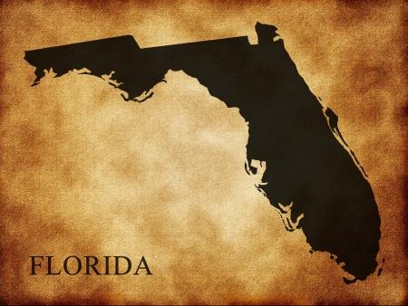 paraphernalia: Map of Florida on the old background