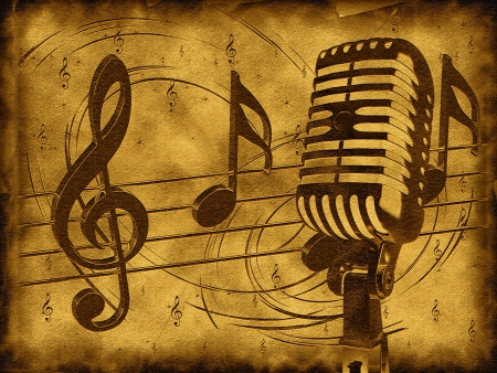 Microphone on abstract musical background photo