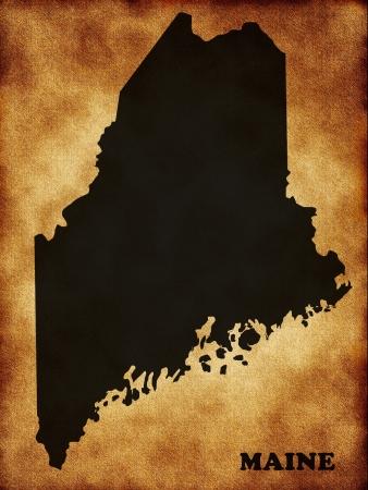 maine: Map of Maine Stock Photo