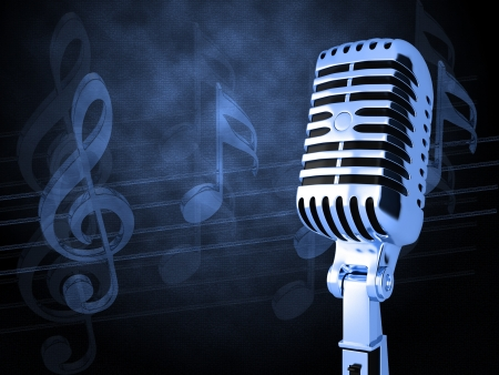 Microphone on abstract musical background Stock Photo