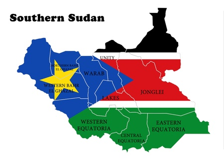 paraphernalia: Flag and map of Southern Sudan Stock Photo
