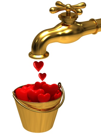 A bucket with hearts from the tap photo