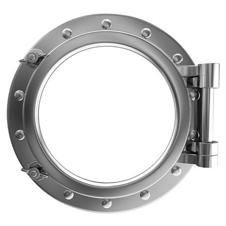 Illustration of a chrome porthole