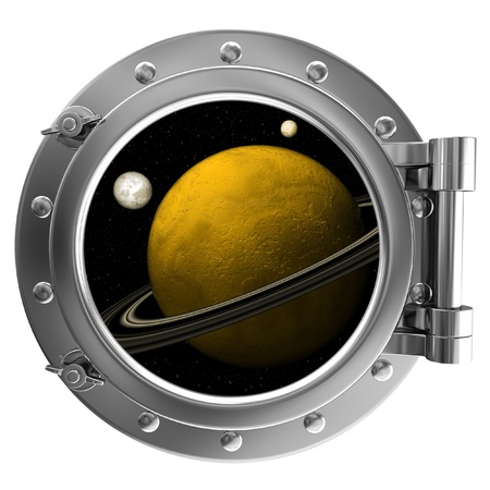 ship porthole: Illustration of a ship porthole with a view to space