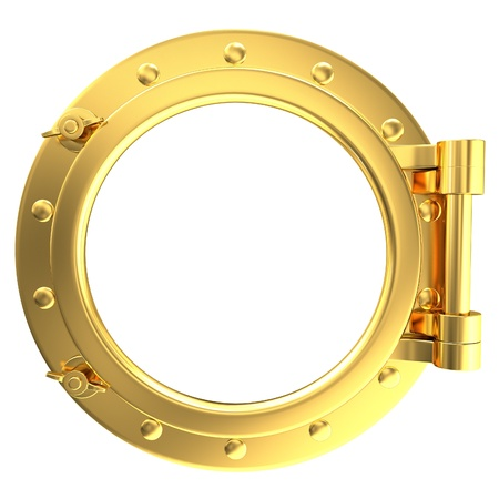 Illustration of a gold ship porthole on a white background