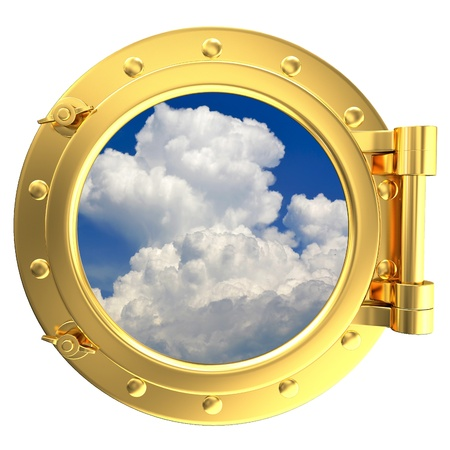 ship porthole: Illustration of a gold ship porthole with a view of the sky