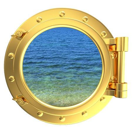 Gold porthole with a view of water photo