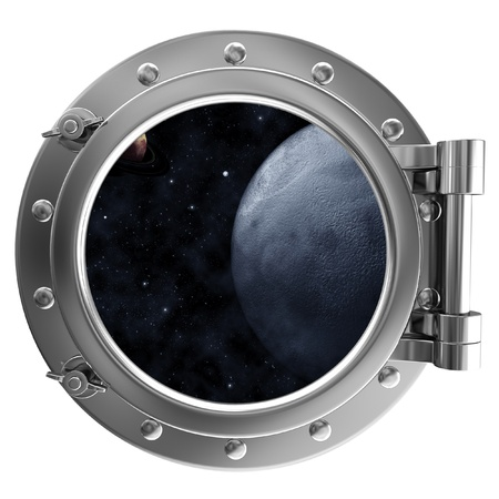 Porthole with a view of space photo