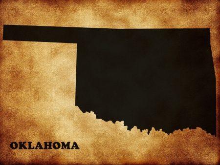 oklahoma: Map of Oklahoma on the old background Stock Photo