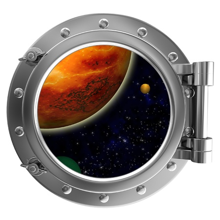 ship porthole: Porthole with a view of space