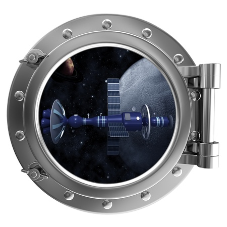 Porthole with a view of satellite photo