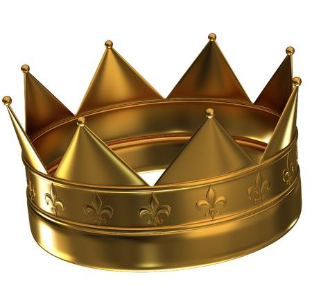 왕: 크라운 흰색 배경에 고립