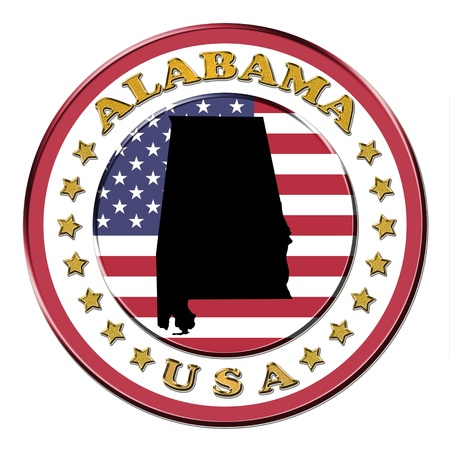 The symbol state of Alabama on the background with flag photo