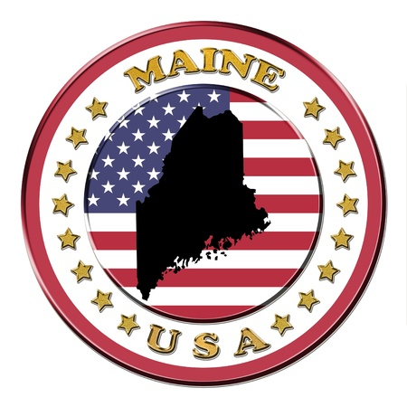 maine: The symbol state of Maine on the background with flag