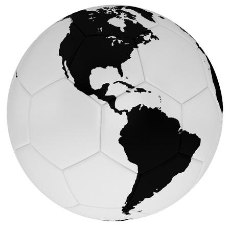 balon soccer: Balón de fútbol con un mapa de América del Norte y del Sur Foto de archivo