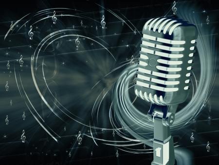 microfono antiguo: Micr�fono en el fondo musical abstracto Foto de archivo