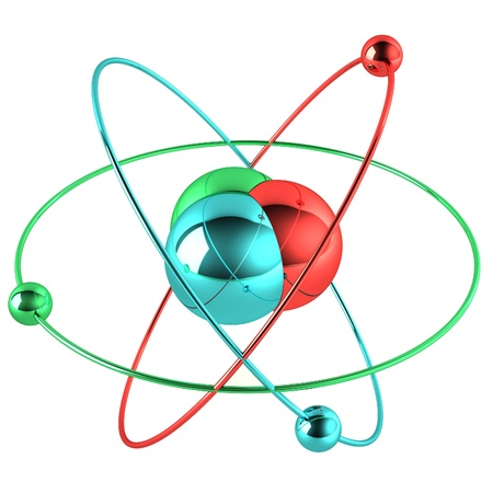 Colorful atom isolated on white background photo