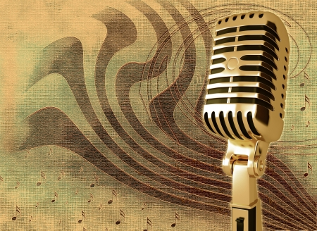 gold record: Microphone on abstract musical background Stock Photo