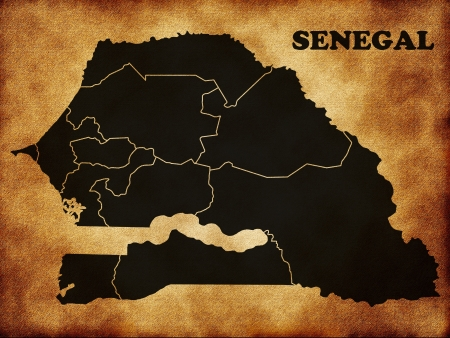 Map of Senegal in the old style Stock Photo - 14566189