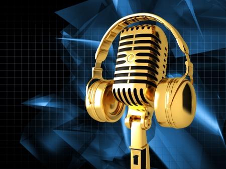 microfono de radio: Micrófono en fondo musical abstracto Foto de archivo