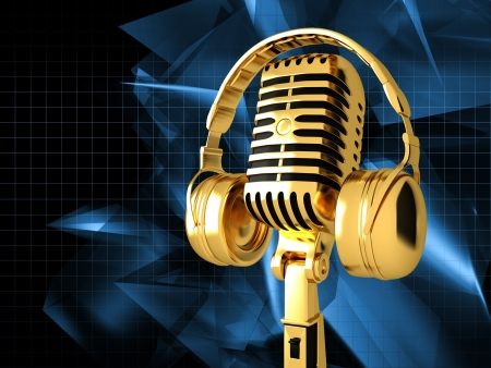 Microphone on abstract musical background Banque d'images