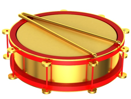 A gold drum isolated on a white background photo