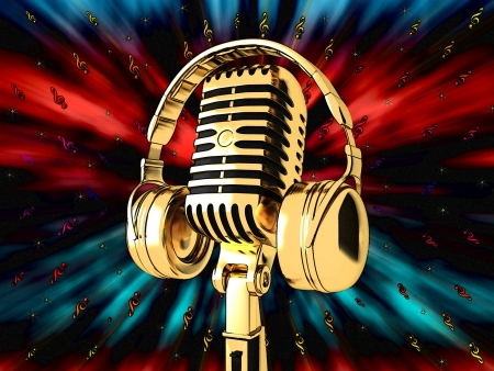 microphones: Microphone on abstract musical background Stock Photo