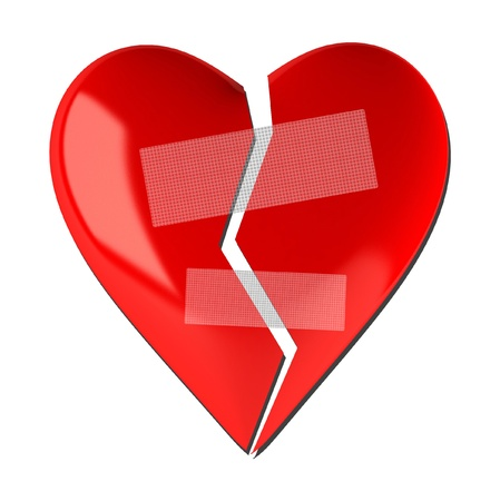 broken relationship: Broken heart shape on a white background Stock Photo