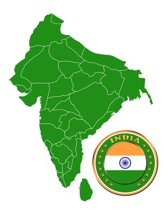 foreign nation: India map and symbol of India Stock Photo