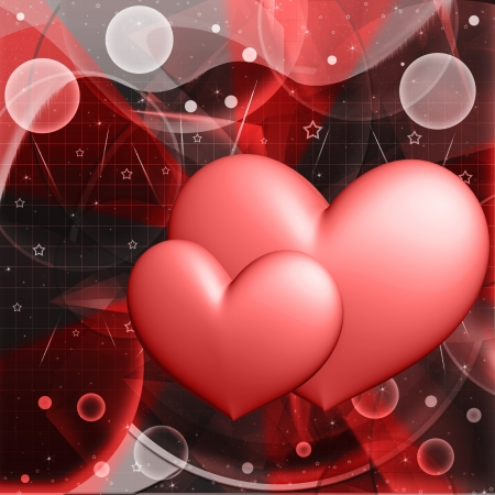 romantic picture: Red hearts on a background Stock Photo