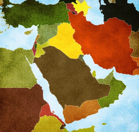 iran: Map of the Middle East Stock Photo