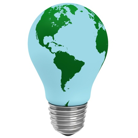 Electric light bulb with a world globe photo