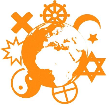 racial diversity: Religious symbols of our planet Stock Photo