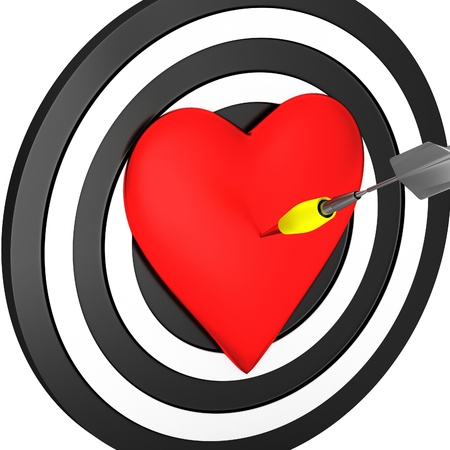 achieved: Target with a heart Stock Photo