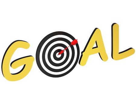sports symbols metaphors: Word goal as a target with the arrow at the center