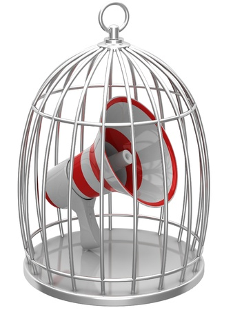 confined space: Megaphone in a cage
