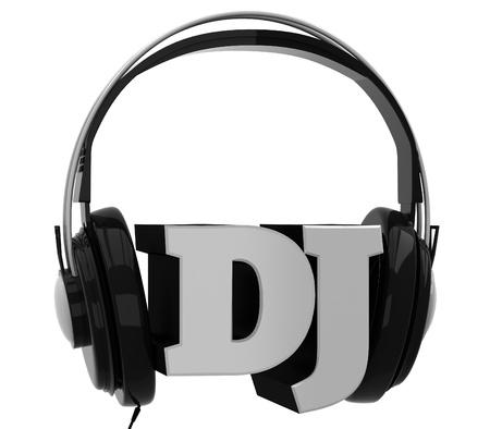 audifonos: Auriculares con el dj inscripci�n Foto de archivo