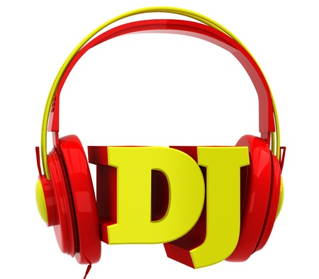 audifonos dj: Auriculares con el dj inscripción Foto de archivo