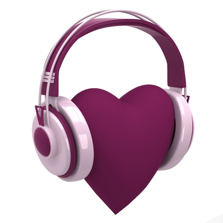Pink headphones with a heart photo