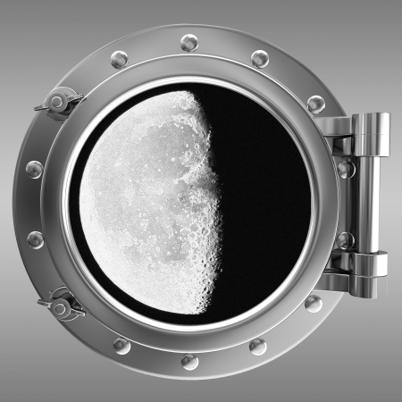 Illustration of a ship porthole with a view to moon illustration