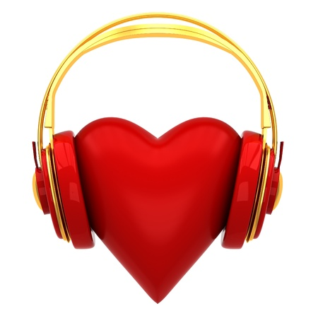 Headphones with a heart photo